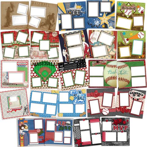 Baseball Collection - 1 -  Digital Bundle - 24 Digital Scrapbook Pages - INSTANT DOWNLOAD - EZscrapbooks Scrapbook Layouts baseball, Digital Bundle, Sports