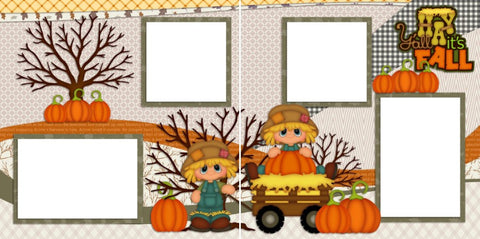 Hay Y'all Its Fall - Digital Scrapbook Pages - INSTANT DOWNLOAD