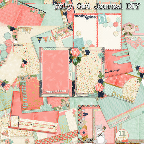 Baby Girl First Year Journal Paper Pack - 7273 - EZscrapbooks Scrapbook Layouts Baby, Journals