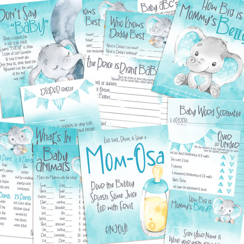9116 - Baby Shower Games Bundle - Blue Elephant - 11 Games