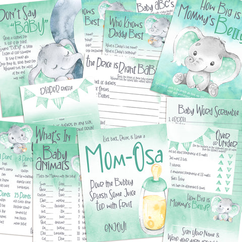 9132 - Baby Shower Games Bundle - Mint Green Elephant - 11 Games