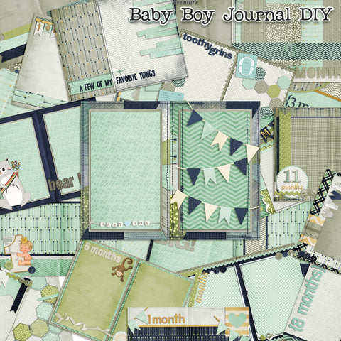 Baby Boy First Year Journal Paper Pack - 7274 - EZscrapbooks Scrapbook Layouts Baby, Journals