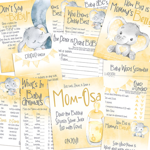 9148 - Baby Shower Games Bundle - Yellow Elephant - 11 Games