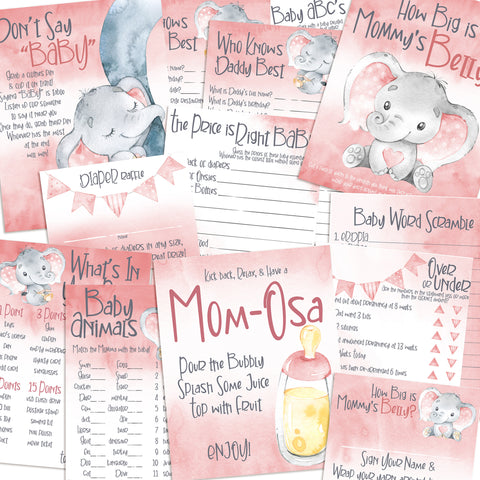 9115 - Baby Shower Games Bundle - Pink Elephant - 11 Games