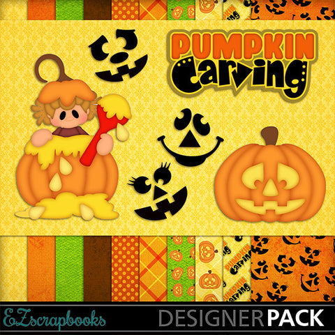 Pumpkin Carving Girl - Digital Kit - INSTANT DOWNLOAD