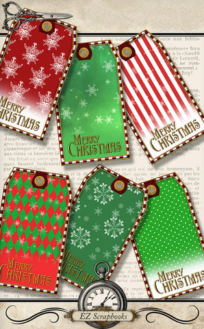 Merry Christmas Tags - 9021 - EZscrapbooks Scrapbook Layouts Christmas