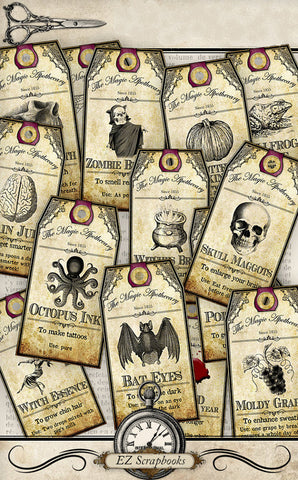 Small Halloween Apothecary Tags - 9030 - EZscrapbooks Scrapbook Layouts Halloween