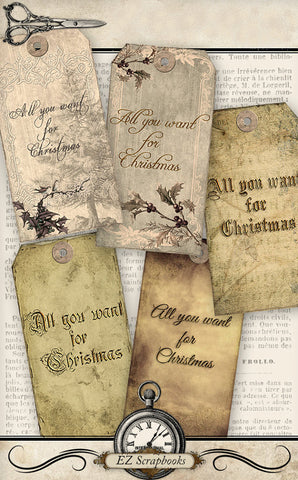 All You Want For Christmas 2 Tags - 9002 - EZscrapbooks Scrapbook Layouts Christmas