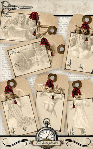 Angels Christmas Gift Tags - 9003 - EZscrapbooks Scrapbook Layouts Christmas