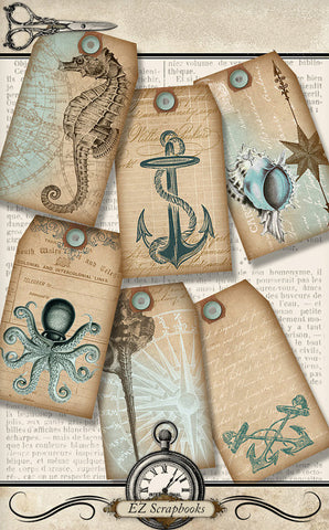 Nautical Tags - 9040 - EZscrapbooks Scrapbook Layouts Other