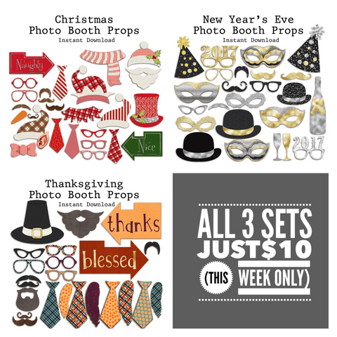 Holiday Bundle Pack - Photo Booth Props - INSTANT DOWNLOAD