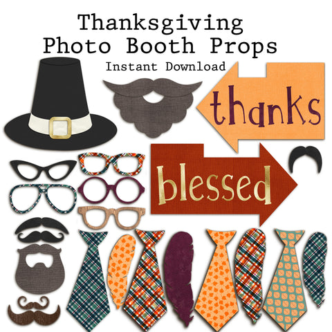 Thanksgiving Photo Booth Props - INSTANT DOWNLOAD