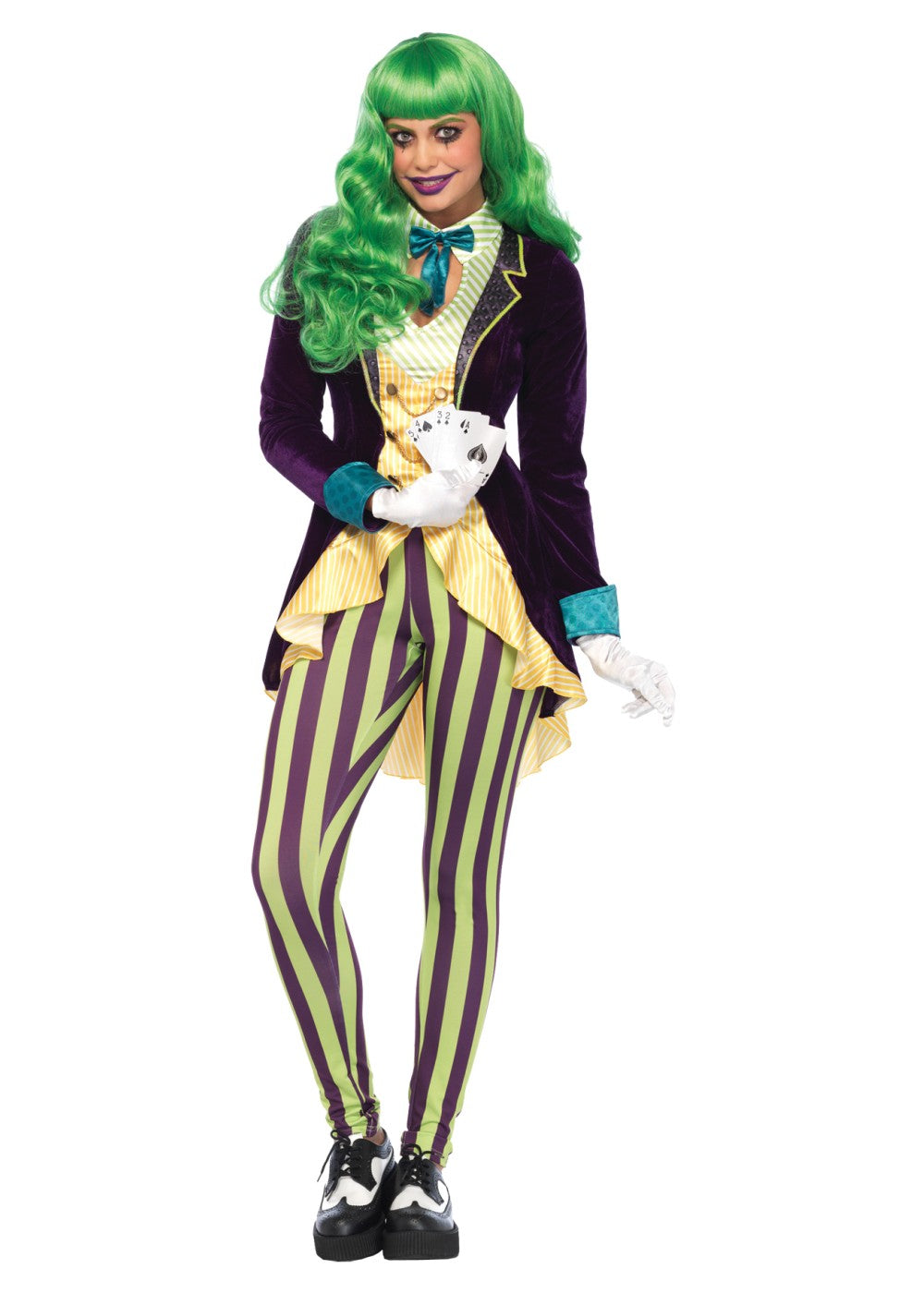 *2PC.Wicked Trickster,high/low jacket w/bow tie,striped leggingsCostumes