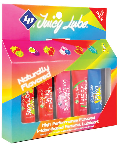 ID Juicy Water Based Lube - 12 ml Blister Asst. Flavors Pack of 5