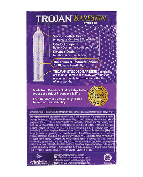 Trojan Studded Bareskin Condoms - Box of 10