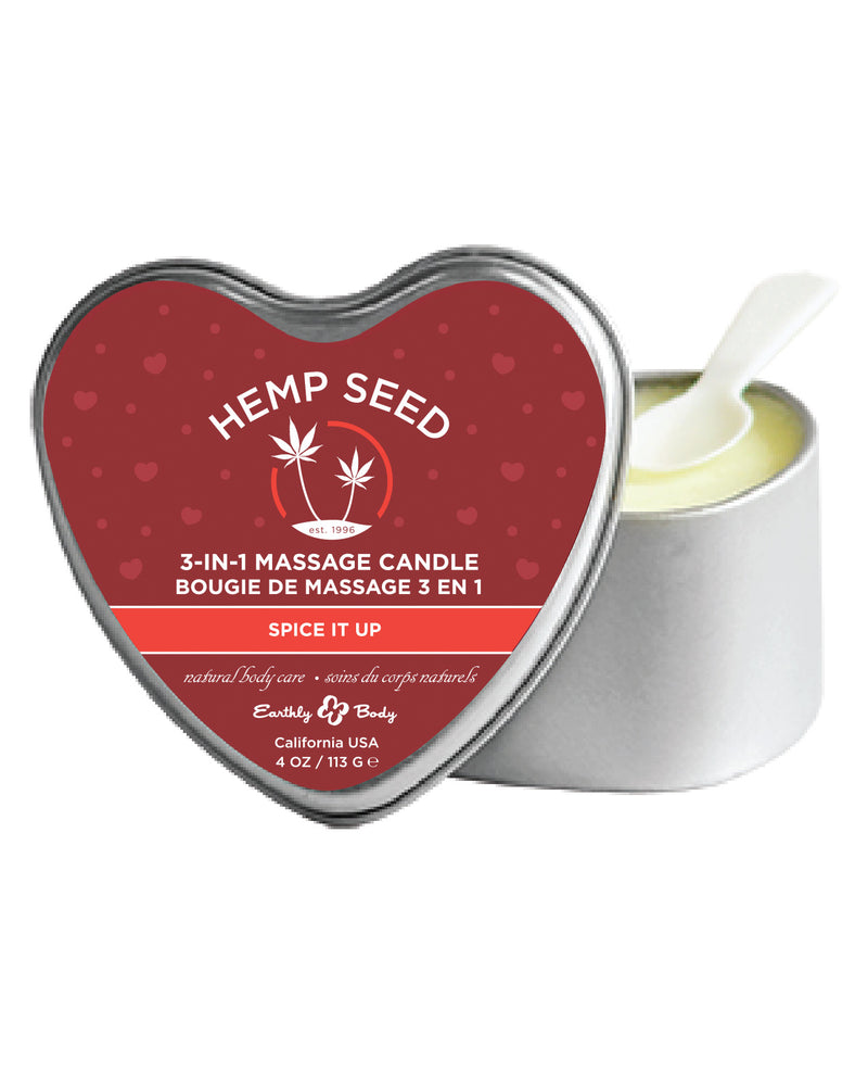Earthly Body Valentine 2020 3 in 1 Massage Heart Candle - 4 oz Spice it Up