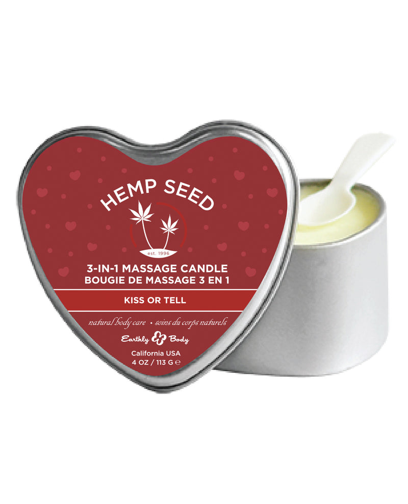 Earthly Body Valentine 2020 3 in 1 Massage Heart Candle - 4 oz Kiss or Tell