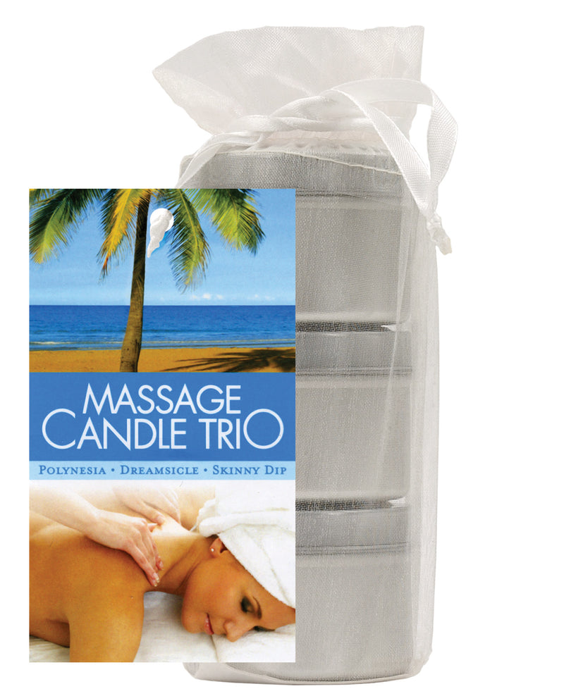 Earthly Body Massage Candle Trio Gift Bag - 2 oz Skinny Dip, Dreamsicle, & Guavalva, Setting The Mood - The Fallen Angel