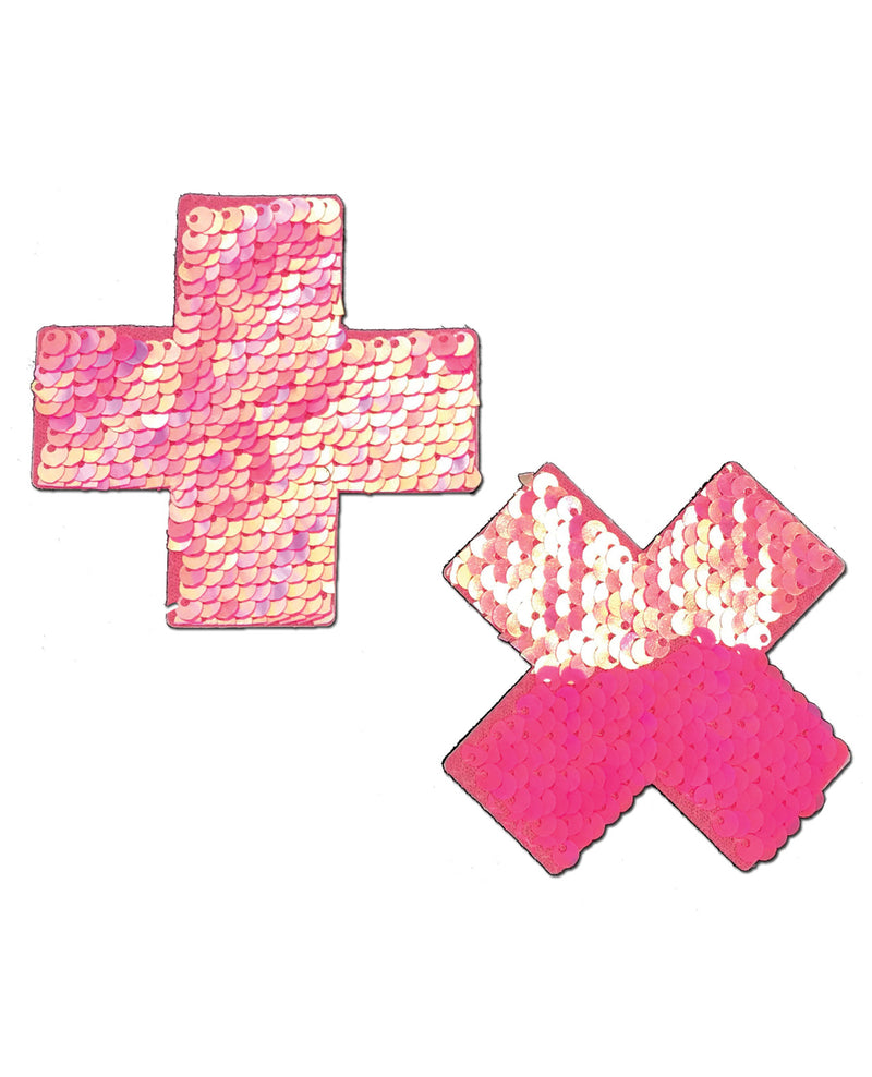 Pastease Color Changing Flip Sequins Cross - Pink O/S