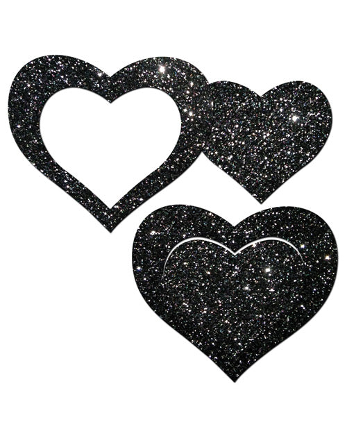 Pastease Glitter Peek a Boob Hearts - Black O/S