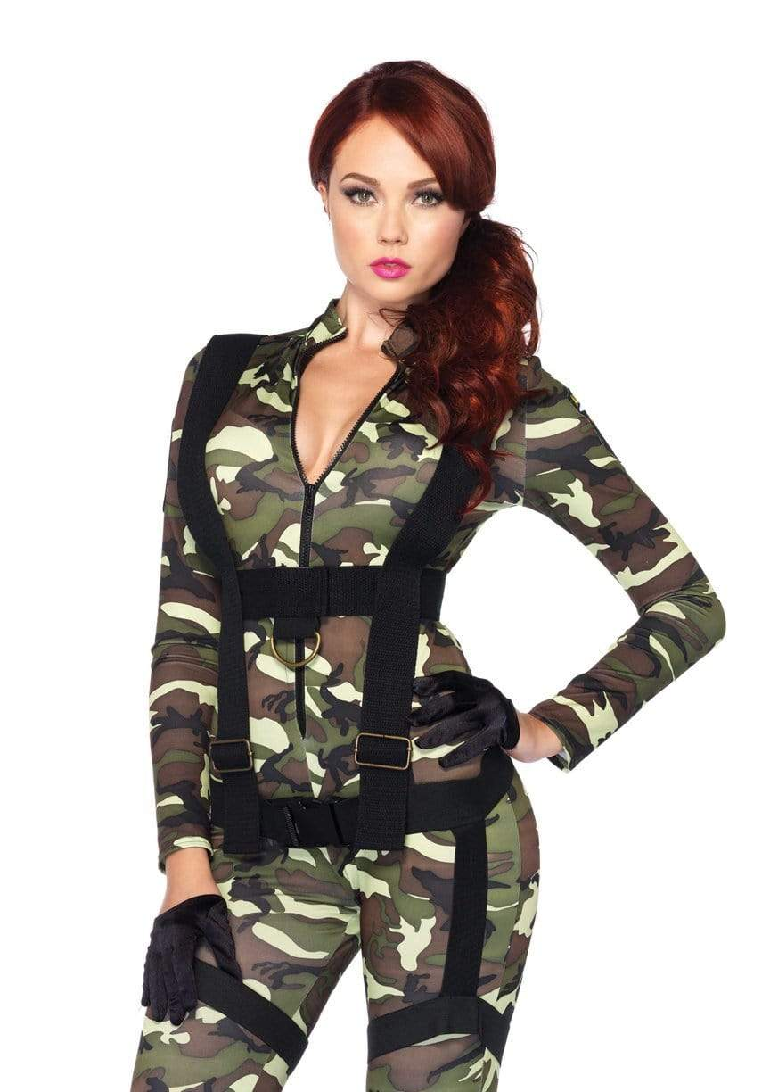 *2PC.Pretty Paratrooper,zipper front camo jumpsuit and body harnessCostumes