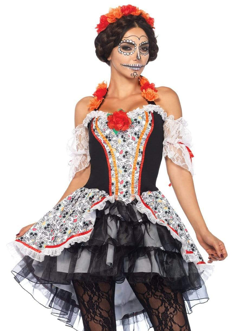2PC.Sugar Skull Senorita high/low dress and floral headbandCostumes