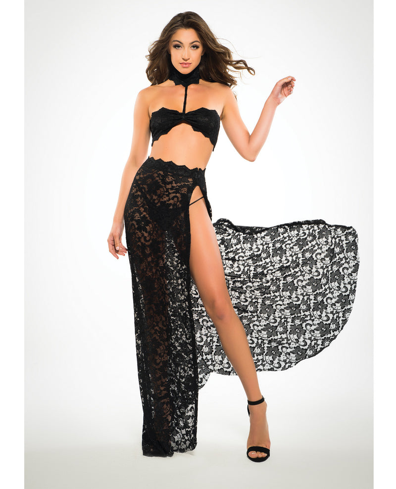 Adore Lace Bandeau Top & Skirt - Black