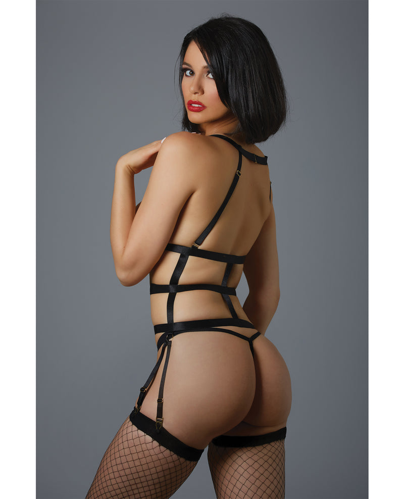Adore One Night Stand Corselette & G-String (Pasties Not Included) Black O/S