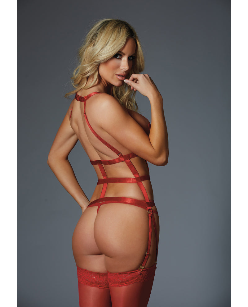 Adore One Night Stand Corselette & G-String (Pasties Not Included) Red O/S