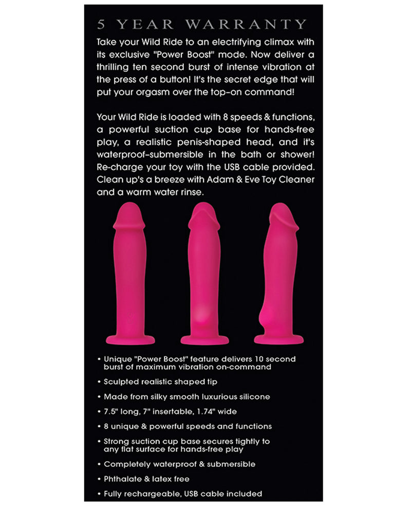 Adam & Eve Wild Ride w/Power Boost, Harness Compatible Vibrator