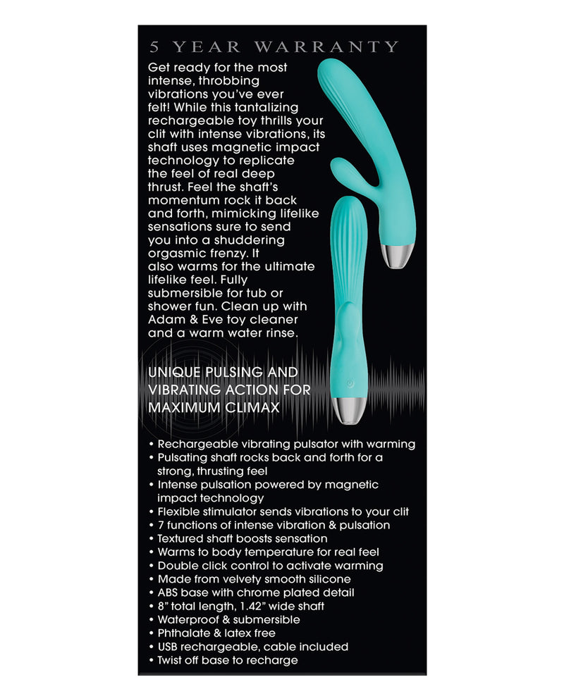 Adam & Eve Eve's Rechargeable Pulsating Dual Massager - Teal