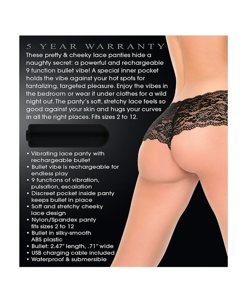 Adam & Eve Cheeky Panty w/Rechargeable Bullet - Black