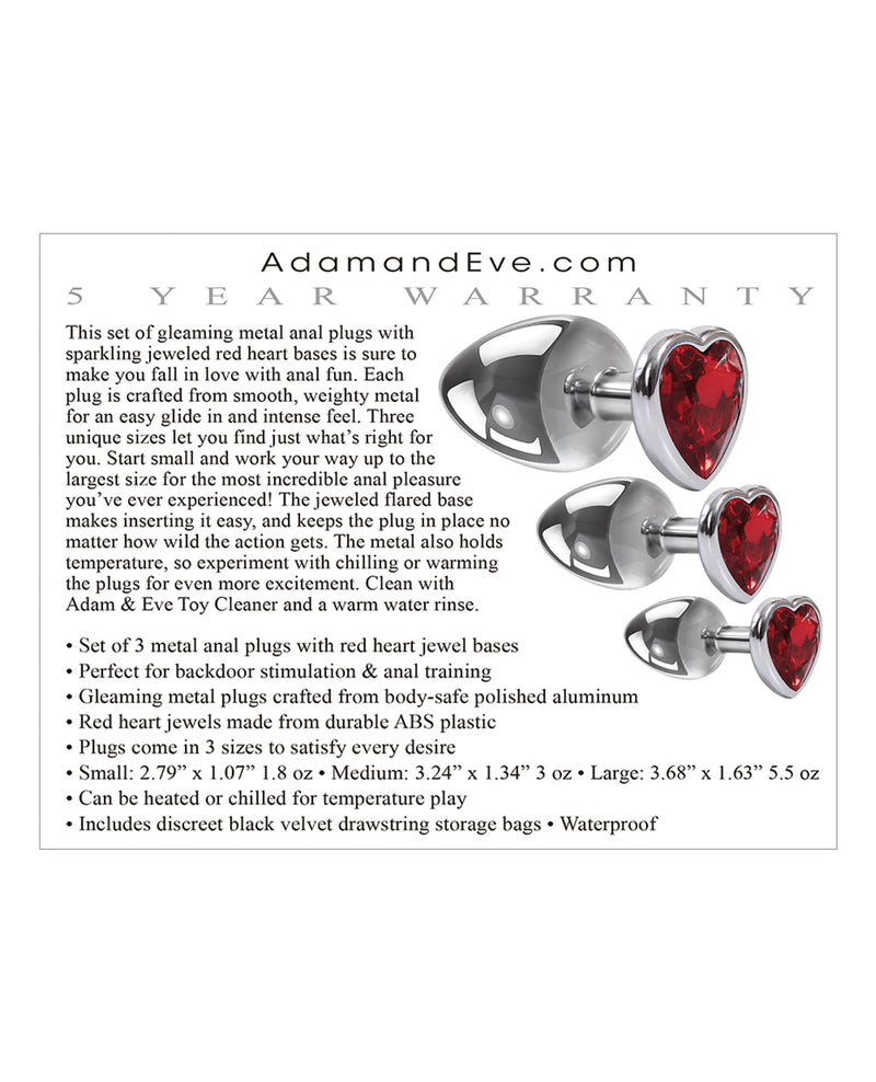 Adam & Eve Three Hearts Gem Anal Plug Set - Silver/Red