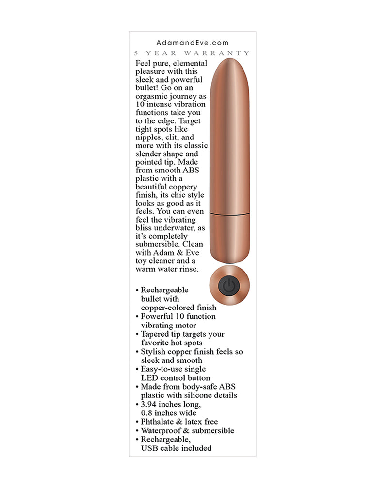 Adam & Eve's Eve's Copper Cutie Rechargeable Bullet