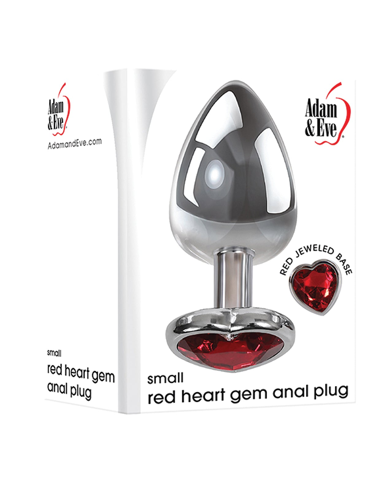 Adam & Eve Red Heart Gem Anal Plug - Small Red/Chrome