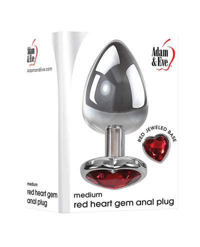 Adam & Eve Red Heart Gem Anal Plug - Medium Red/Chrome