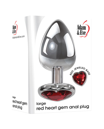 Adam & Eve Red Heart Gem Anal Plug - Large Red/Chrome