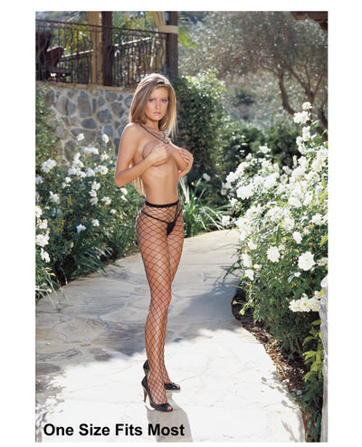 Fence Net Pantyhose (Thong Not Included) Black O/S