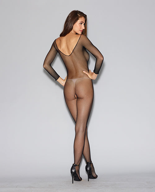 Fishnet Long Sleeved Open Crotch Bodystocking Black O/S