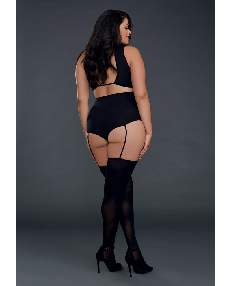 Cross Vest Teddy Bodystocking - Black