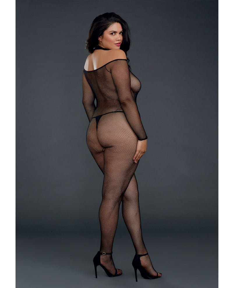 Fishnet Off the Shoulder Bodystocking w/Attached Collar - Black