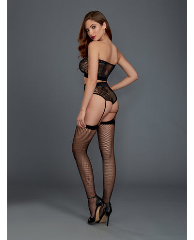 Holiday Fishnet & Lace Bandeau Bralette w/Attached Garters and Thigh High Stockings Black O/S