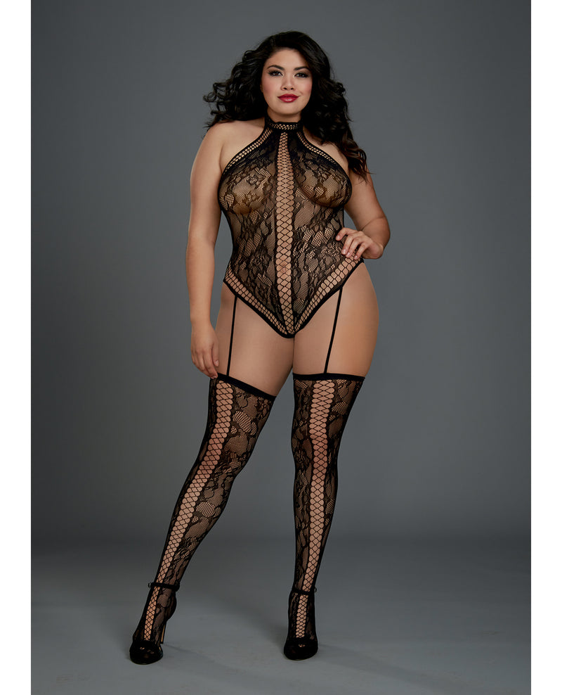 Lace Halter Neckline Teddy Bodystocking w/Attached Garters & Thigh Highs Black QN