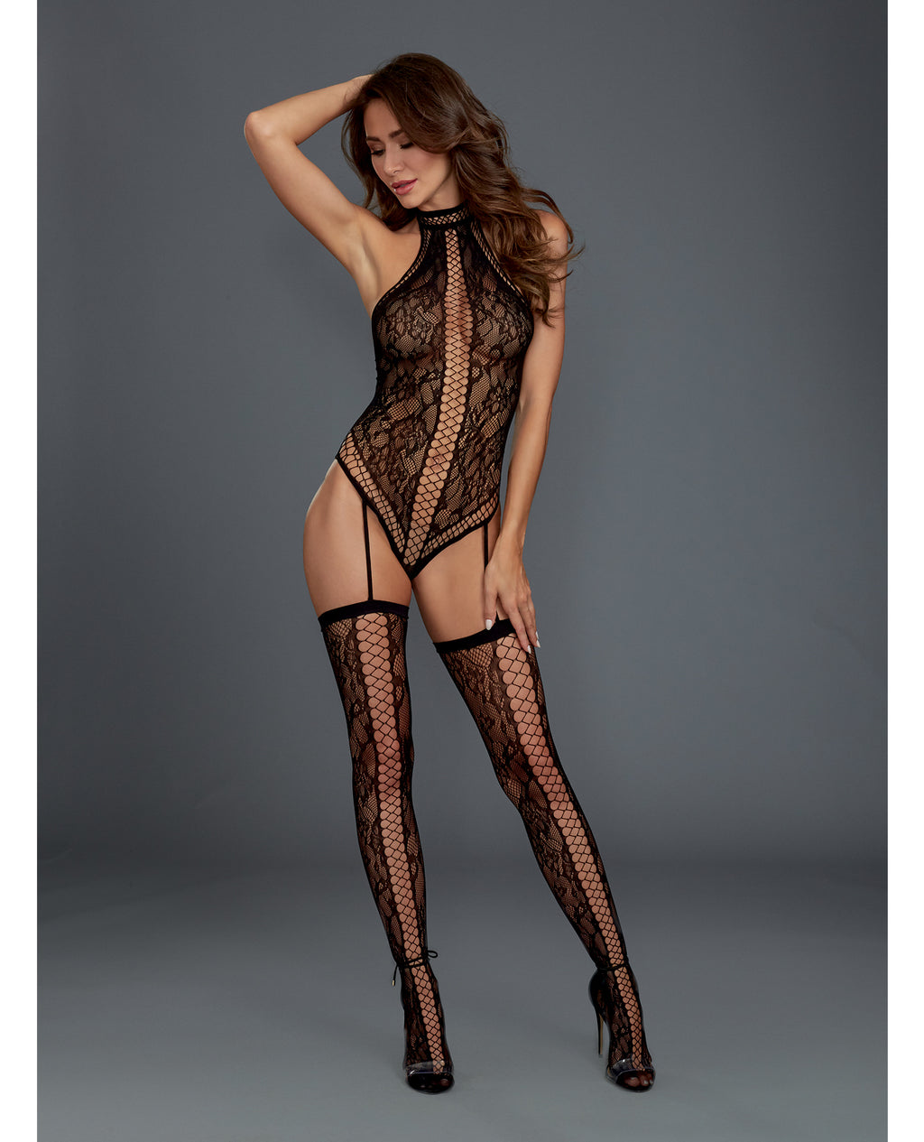 Lace Halter Neckline Teddy Bodystocking w/Attached Garters & Thigh Highs Black O/S