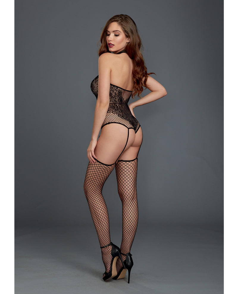 Fishnet & Lace Halter Neckline Teddy w/Attached Garters & Thigh High Black O/S