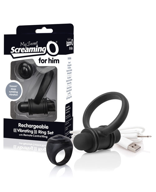 Screaming O My Secret Bullet & Ring for Him - Black