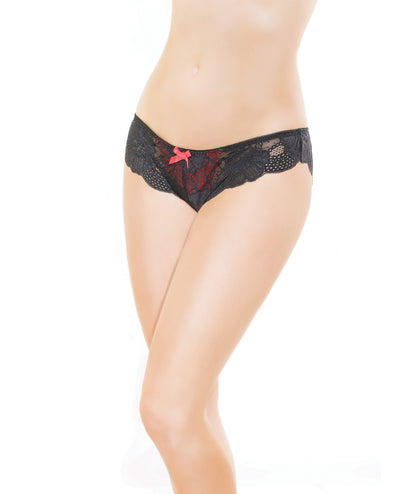 Low Rise Stretch Lace & Satin Panty - Black/Red