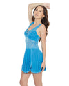 Scallop Stretch Lace & Microfiber Soft Cup Design Babydoll & Thong - Blue