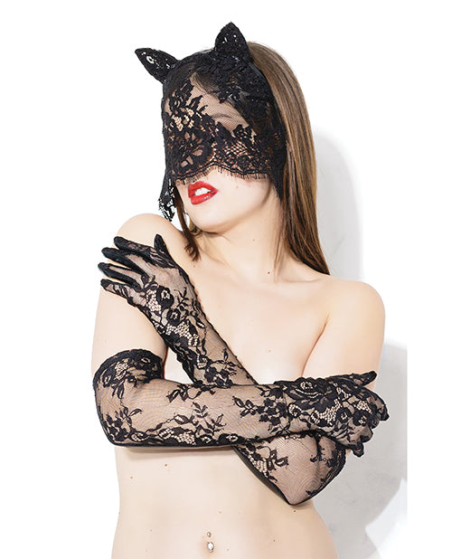 Darque Sex Kitten Mask & Glove Set Black O/S