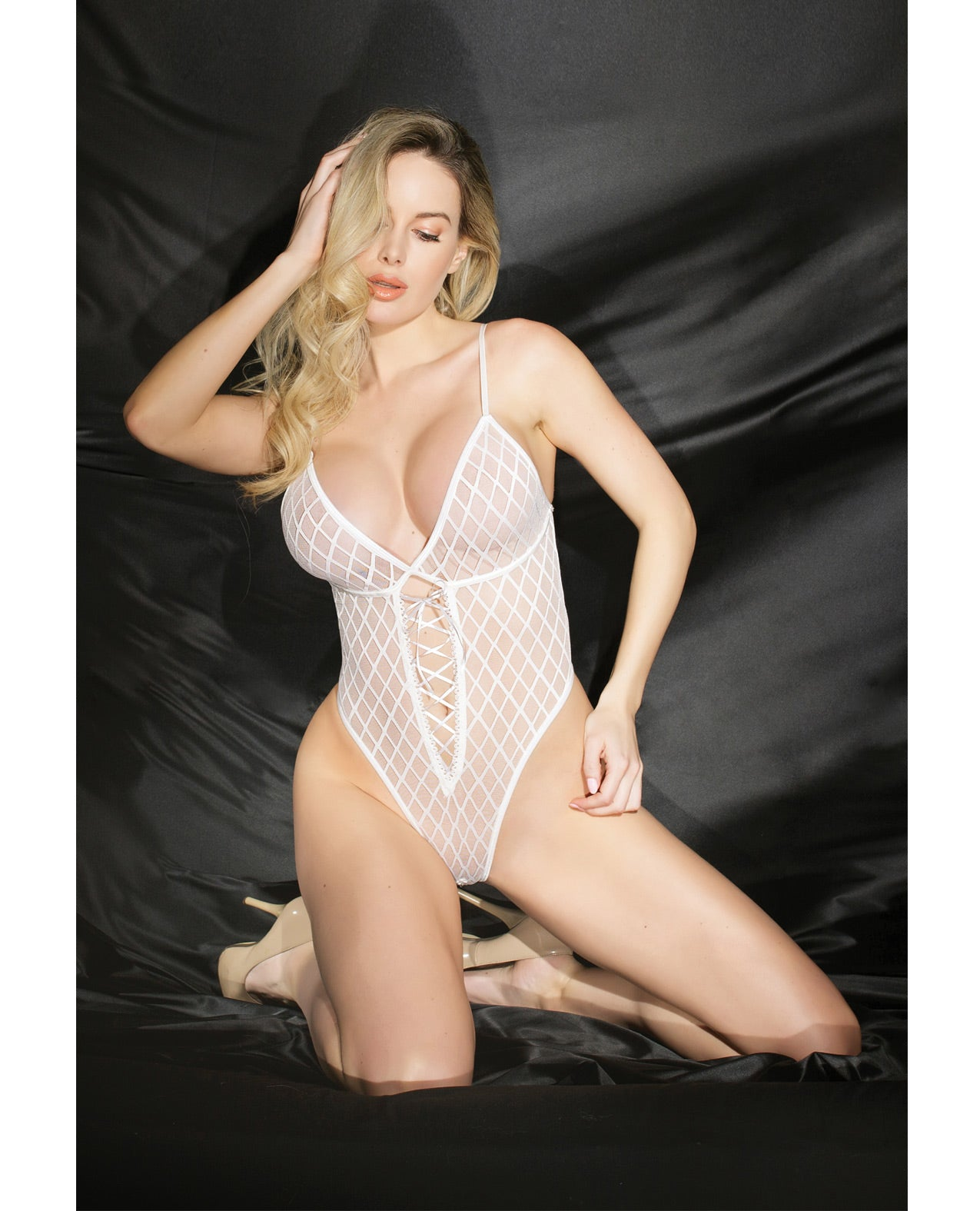 Fashion High Cut Mesh Teddy w/Lace-Up Detail - White